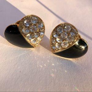 Enamel and Rhinestone Heart Clip Earrings